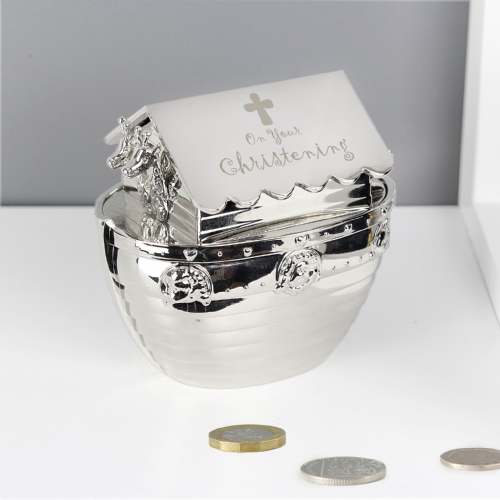 Christening Noahs Ark Silver Money Box  gift for christening and baptism